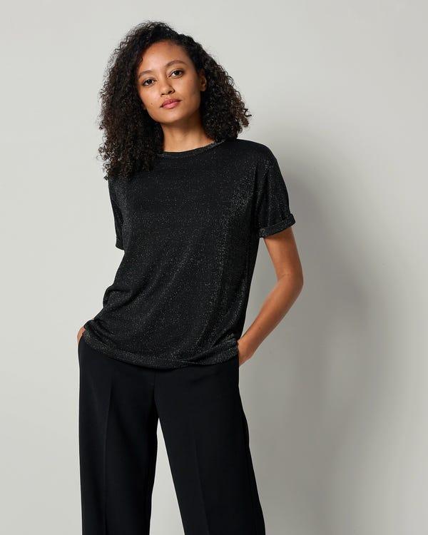 LILYSHEENA | きらめく 半袖シルクニット Tシャツ