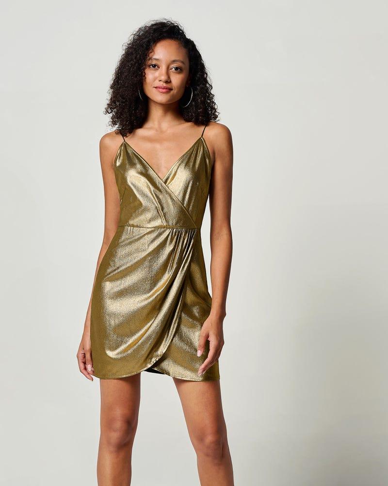 LILYSHEENA | Vネック ブロンズ シルクキャミドレス