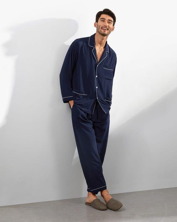 18匁ラペルカラー シルクパジャマ上下セット