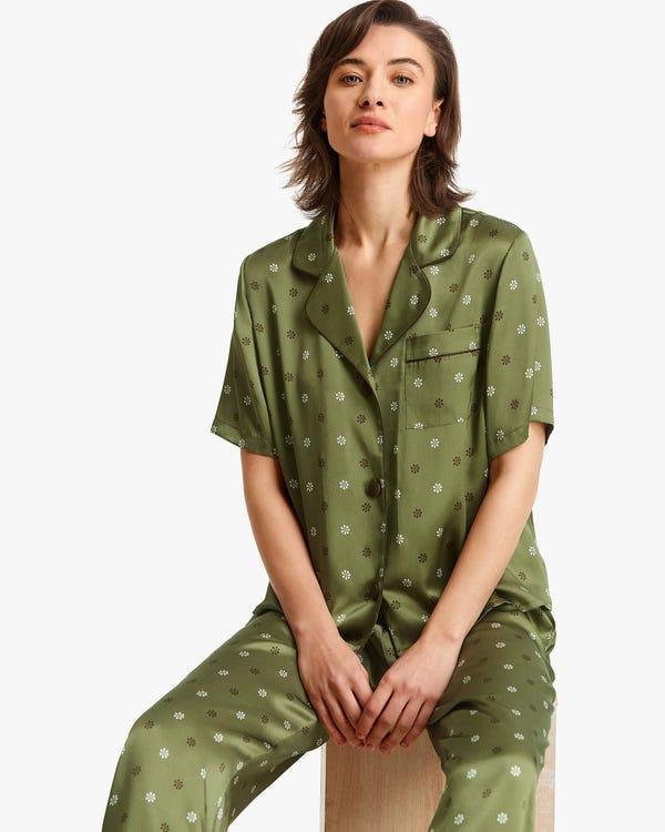 可愛い 小花柄 半袖 シルクパジャマ