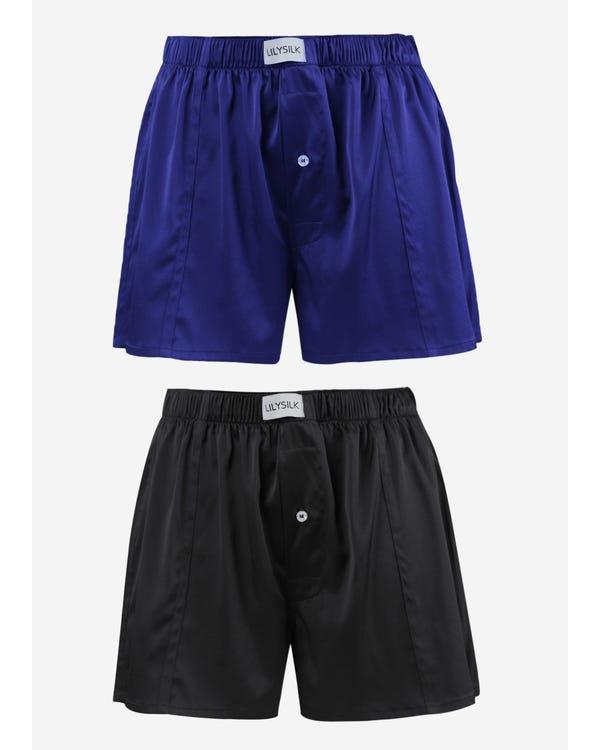 19匁メンズシルクボクサーブリーフ【吸水速乾】2枚セット Black-Blue S