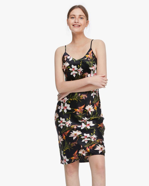 上品 ユリ花柄 シルク スリップドレス キャミワンピース