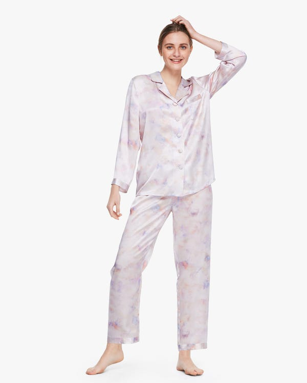 芸術的 長袖 水彩柄 ロング丈 シルクパジャマ上下セット
