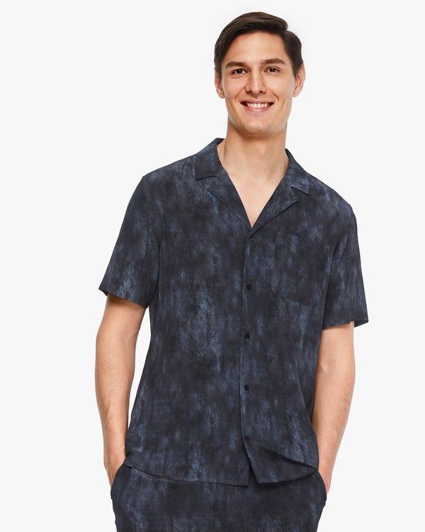 お洒落 スモッグプリント 半袖 メンズ シャツ