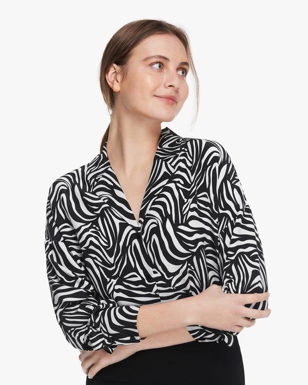 トレンド ゼブラ柄 長袖 シルクシャツ 透け感なし「素材:18匁シルク100%」