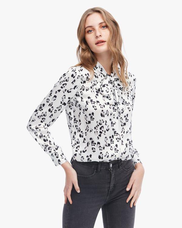 上品 黒白 ヒョウ柄 リボン付き 長袖 シルクブラウス「素材:19匁シルク100%」