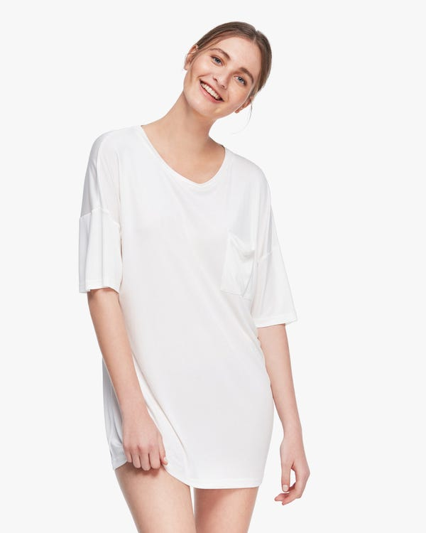 洗練 五分袖 ルーズフィット シルクニット ロングTシャツ ルームウェア「素材:シルク100%」