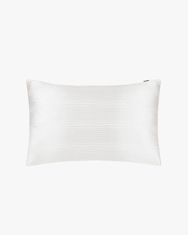 「隠しファスナー」ストライプ柄ジャカード シルク枕カバー