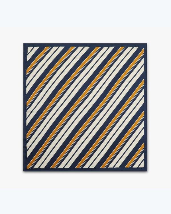 贅沢 ストライプツイル シルクスクエアスカーフ「素材:14匁シルク100%」