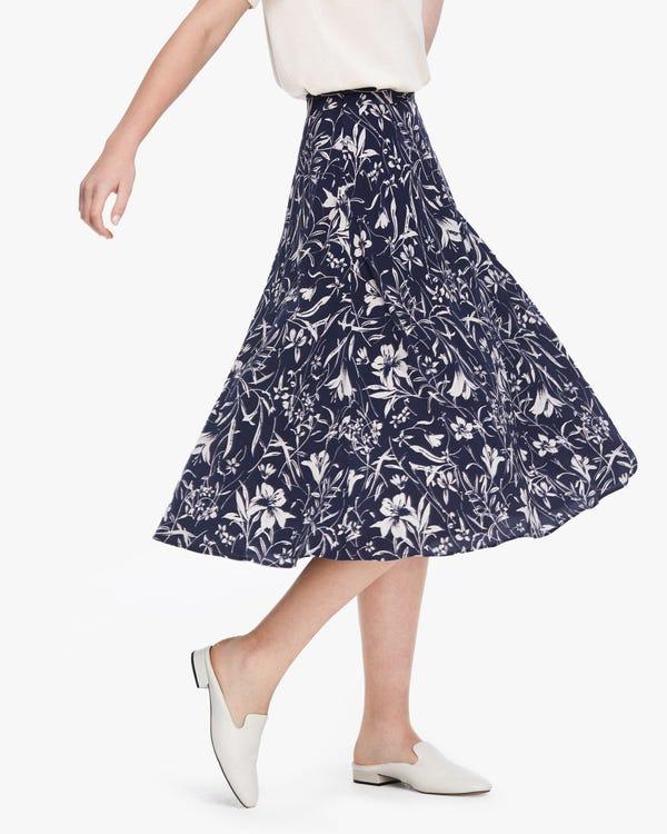 キレイめ 魅力的 ゆり柄 ロング丈 シルクスカート「素材:18匁シルク100%」
