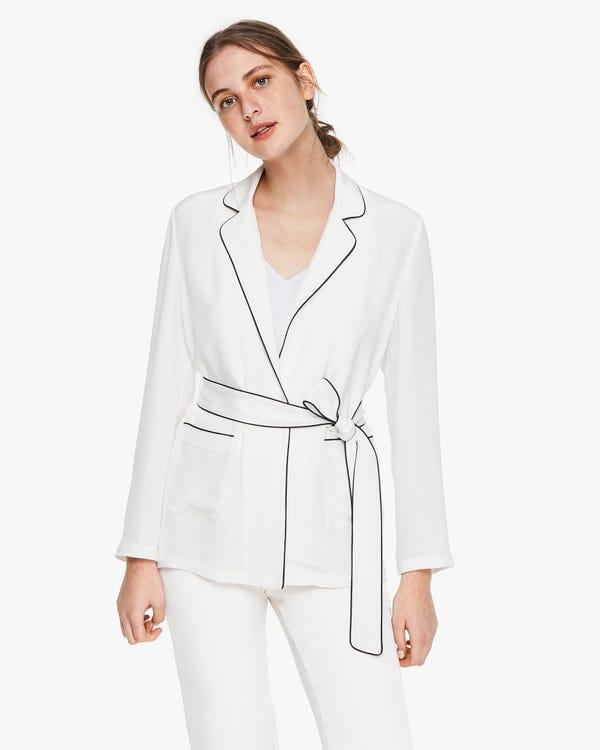 ビンテージ パジャマ風 長袖 カッコ良い シルクアウター「素材:30匁シルク100%」