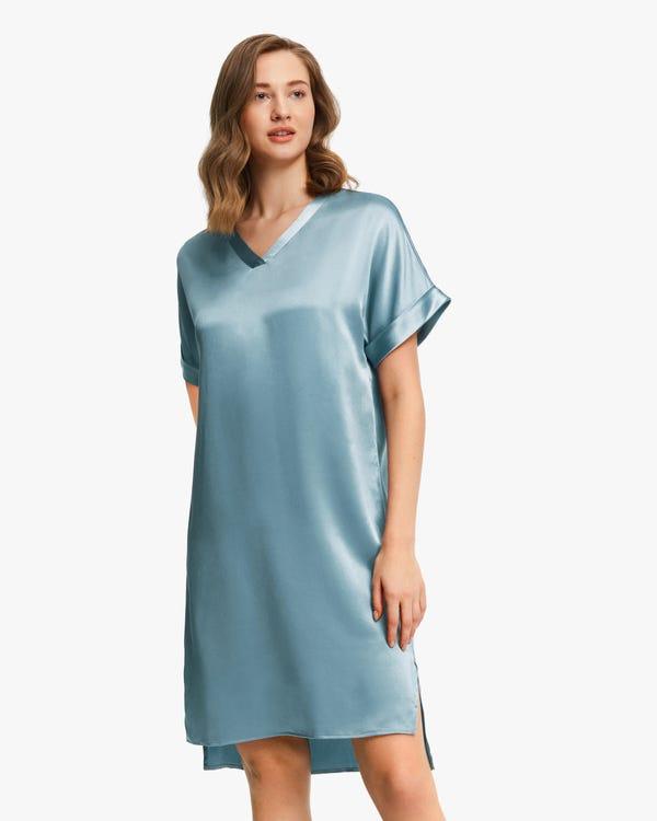 22匁 無地 半袖 ブラ付き シルクネグリジェ ロングTシャツ
