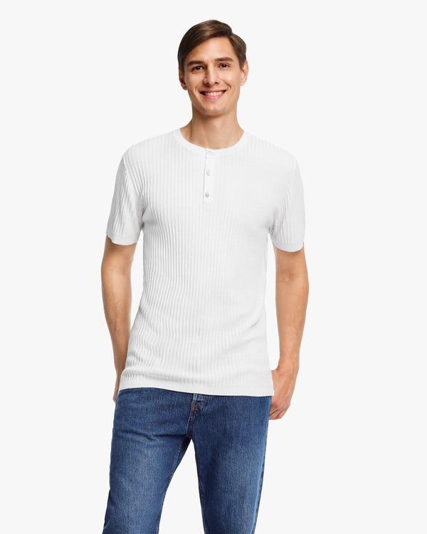 ジャカード ニット 半袖 メンズ シルクTシャツ「素材:シルク100%」