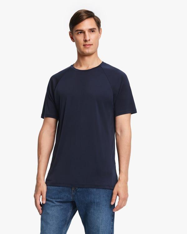シンプル 丸首 半袖シルクニット メンズTシャツ「素材:シルク100%」