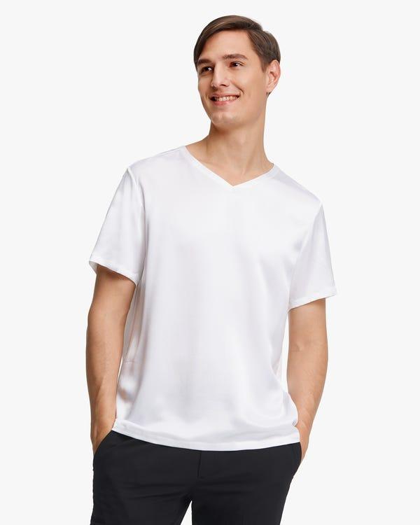 シンプル 半袖 Vネック シルク メンズ Tシャツ「素材:22匁シルク100%」