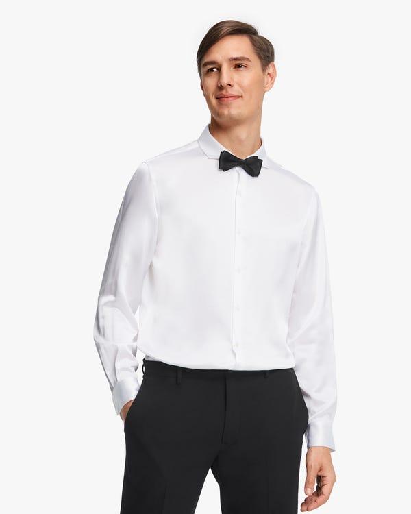 定番 フォーマル シルク メンズドレスシャツ「素材:22匁シルク100%」