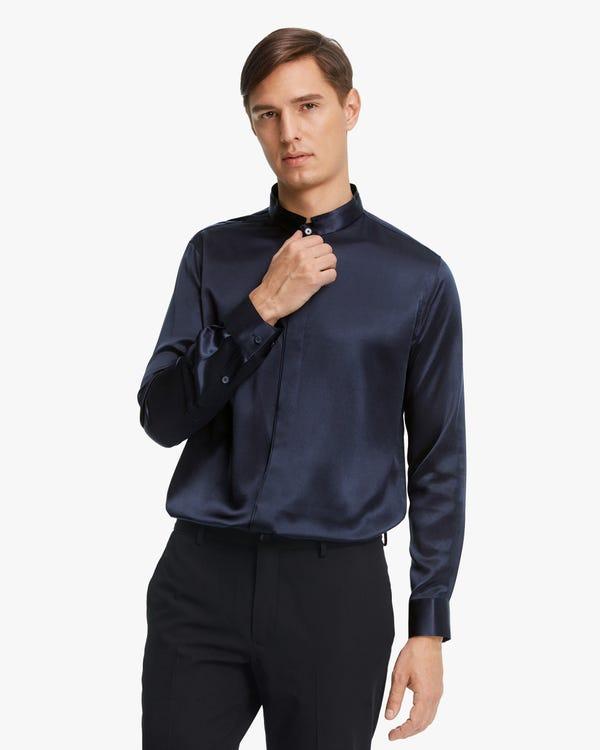 クラシック 隠し前立て 長袖シルクメンズシャツ「素材:22匁シルク100%」