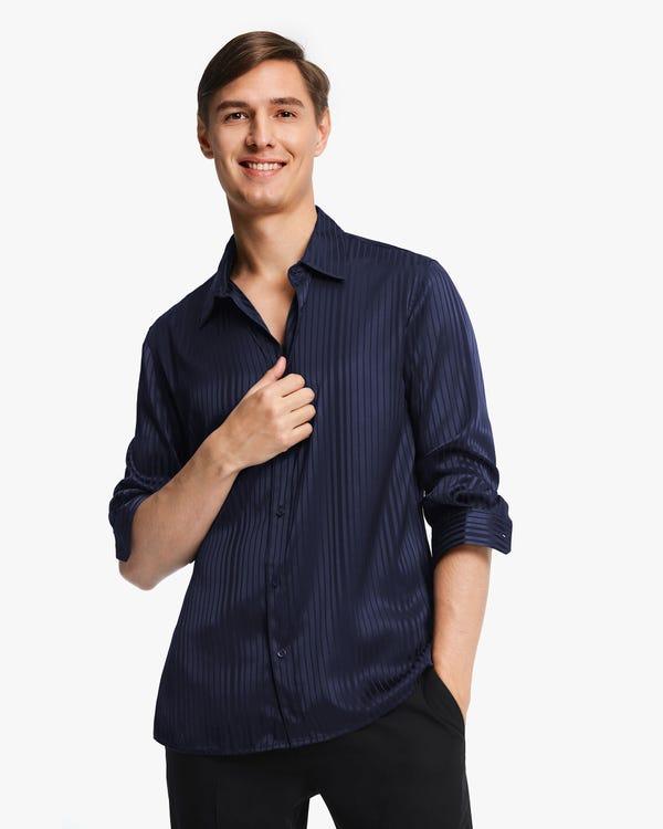 メンズ 定番 長袖 ストライプ柄シルクシャツ「素材:シルク90%+スパンデックス10%」