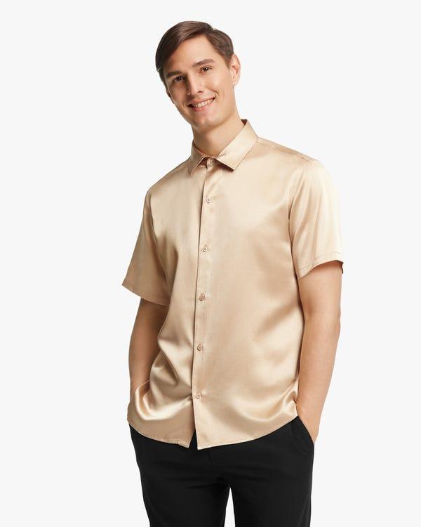 贅沢 半袖 メンズ シルクシャツ「素材:22匁シルク100%」