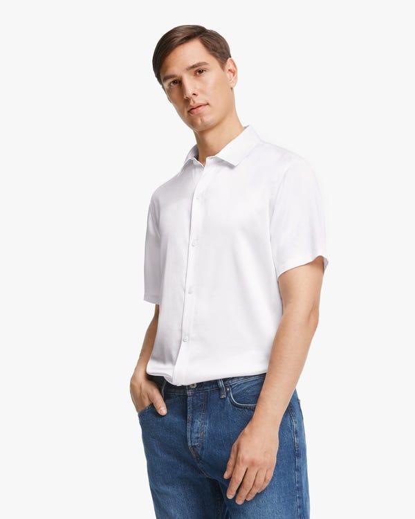 贅沢 半袖 メンズ シルクシャツ White L