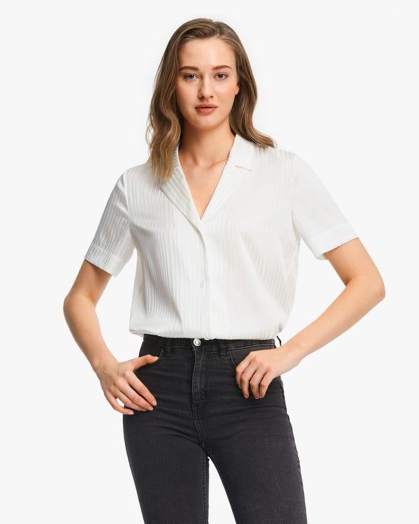 ストライプ柄 半袖 シルクシャツ