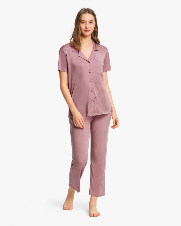 夏に最適 上品 無地 半袖 シルクニット パジャマ-hover