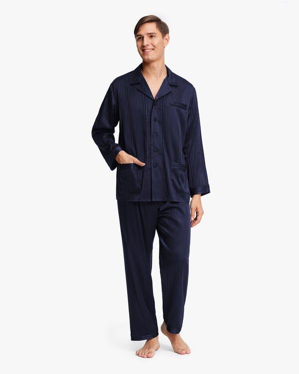 メンズ 縞模様 長袖 シルクパジャマ