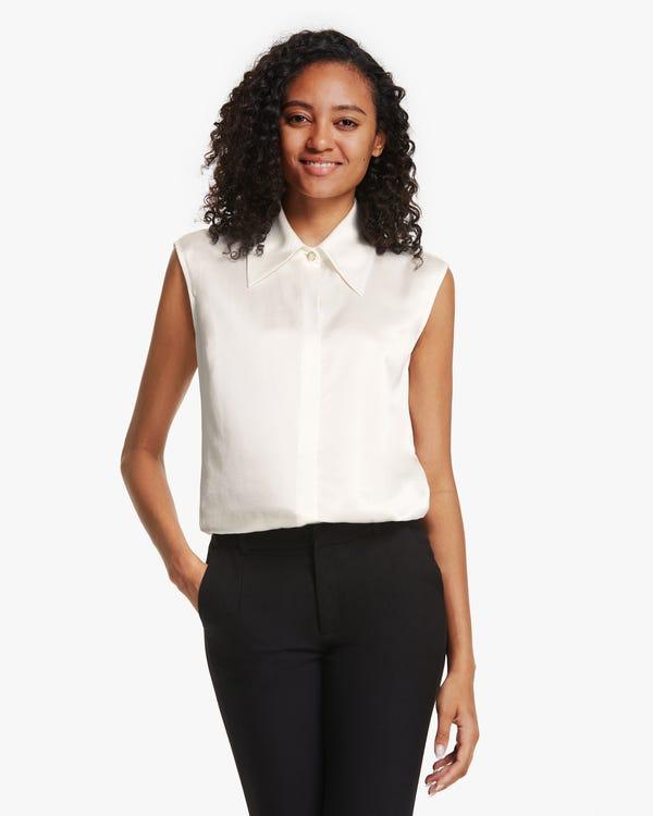 ノースリーブ シルクシャツ 大きいカラー