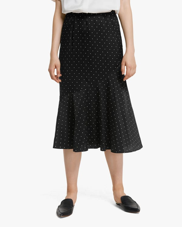 上質 水玉柄 フレア スカート シルク スカート「素材:シルク90%+スパンデックス10%」