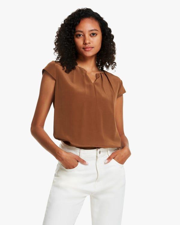 夏 プリーツ ネックライン キャップ袖 シルクブラウス「素材:18匁シルク100%」