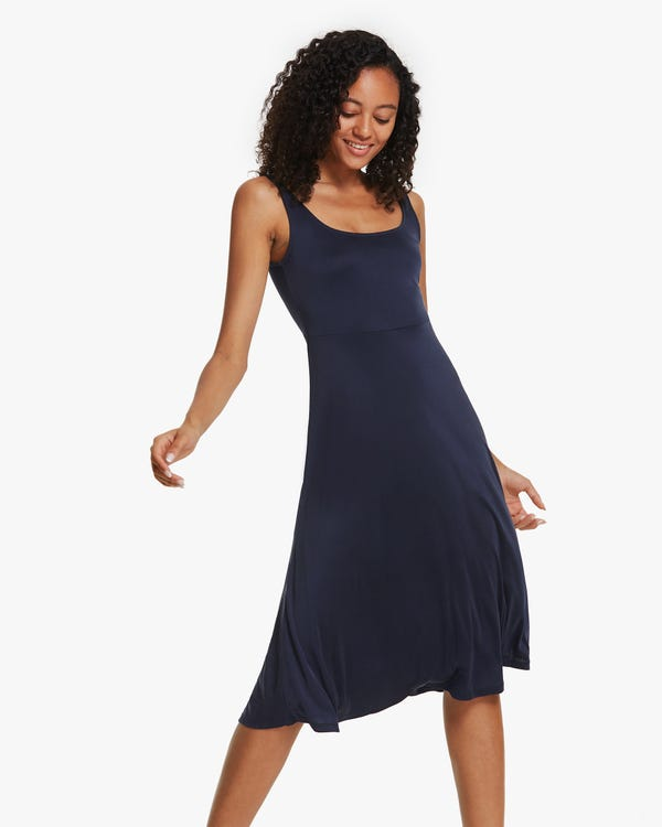 無地 シルクニット ドレス 袖なし シルクワンピース「素材:100%」