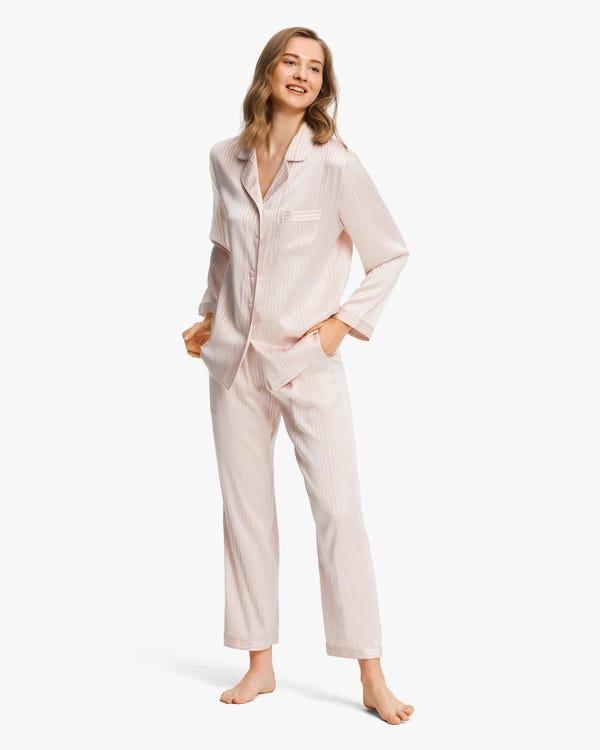 レディース 縞模様 伸縮性良い 長袖 シルクパジャマ