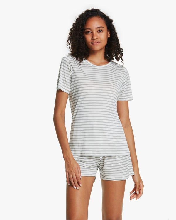 夏用 縞模様 半袖 シルクニット パジャマ