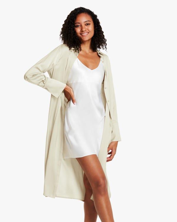 夏 薄い ロング丈 シルクコート ロングシャツ「素材:22匁シルク90%+スパンデックス10%」