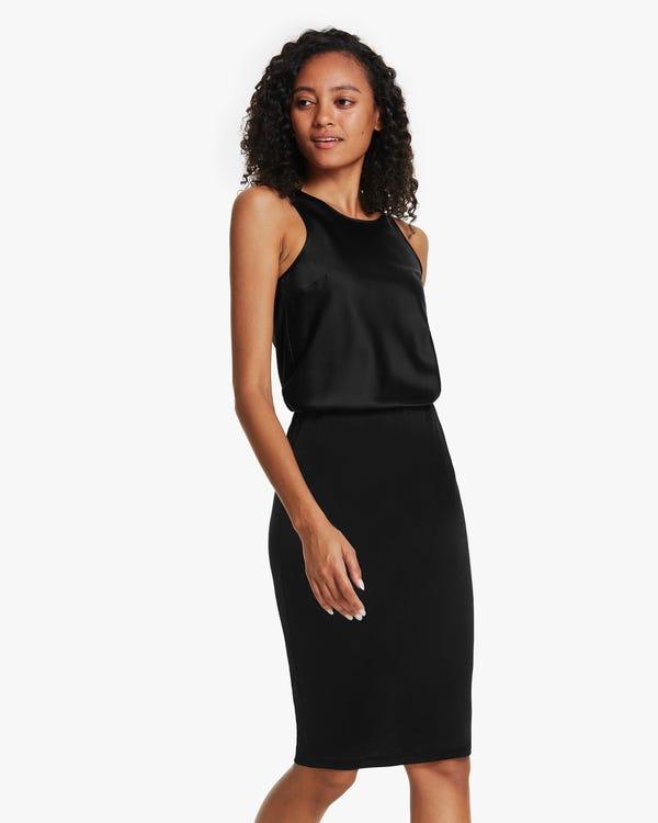 クラシック 膝丈シルクニット スカート「素材:シルク100%」