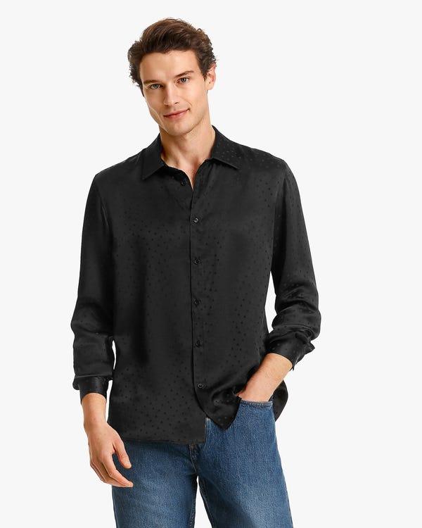 メンズ 水玉柄 シルクシャツ
