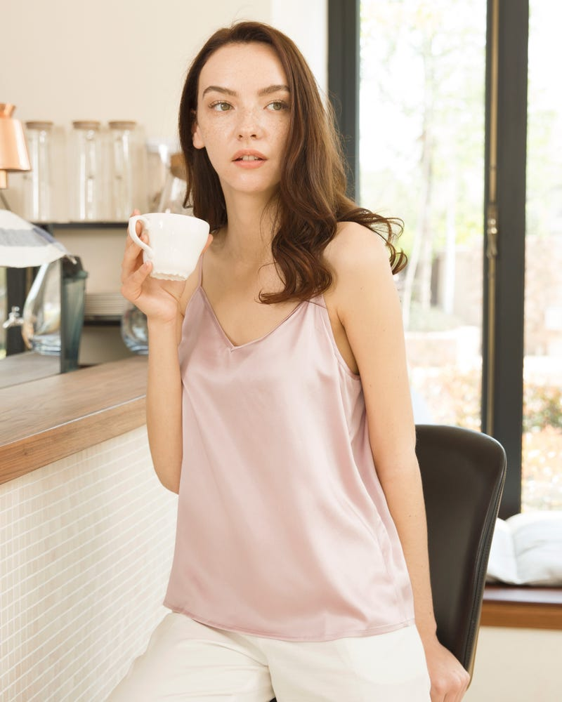 V Neck Front and Back Silk Camisole