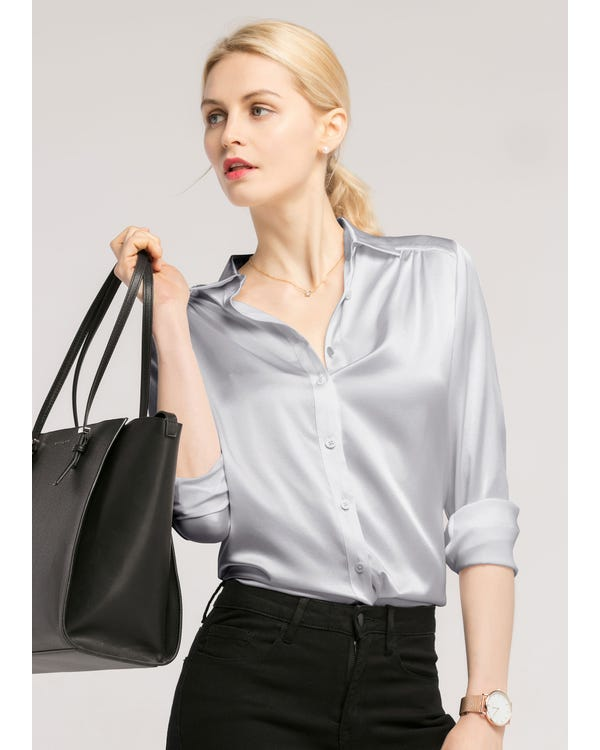 Long Sleeves Collared  Silk Blouse