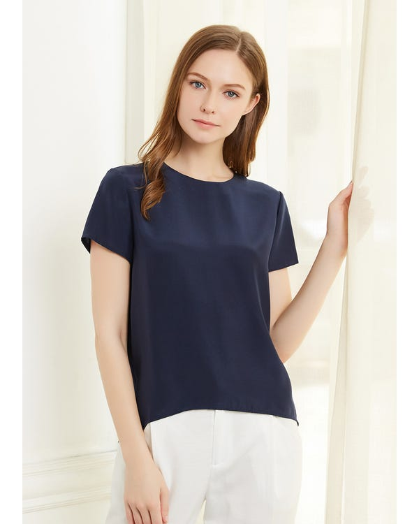 Button Slit Back Closure Silk Tee-hover