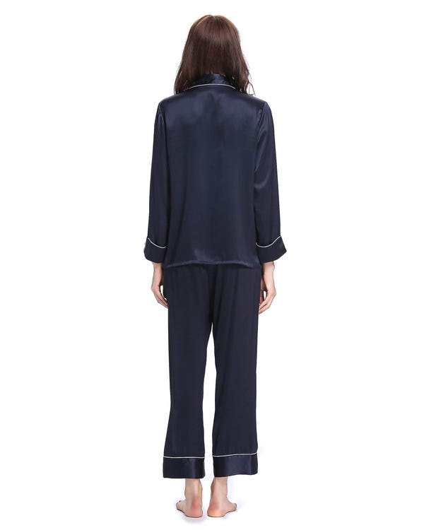 22 Momme Chic Trimmed Silk Pajamas Set-hover