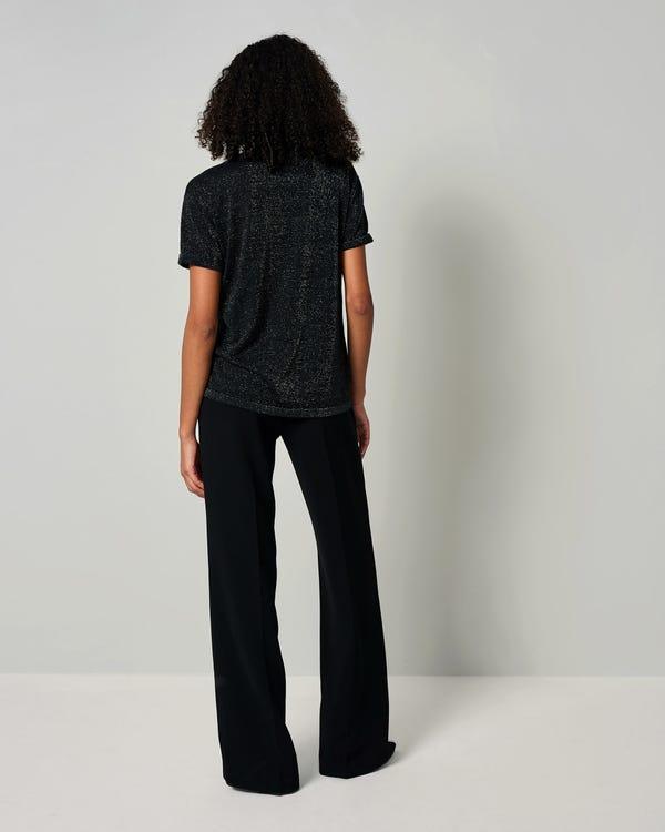 LILYSHEENA | きらめく 半袖シルクニット Tシャツ-hover