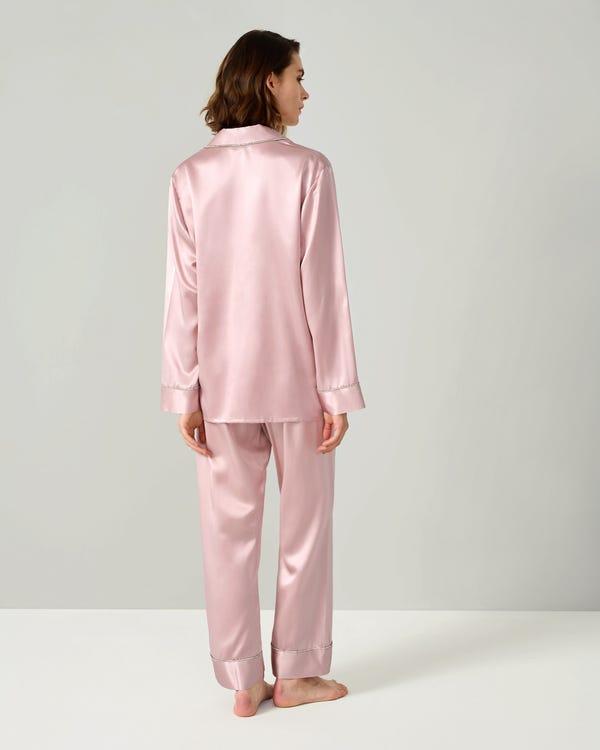 華麗 ラインストーン トリム 長袖 胸ポケット シルクパジャマ-hover