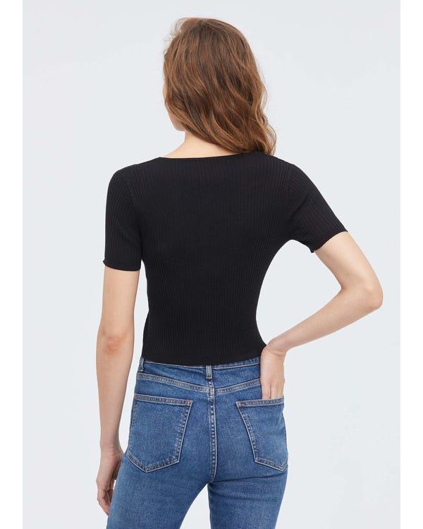 カジュアル リブ半袖 シルクニット tシャツ-hover