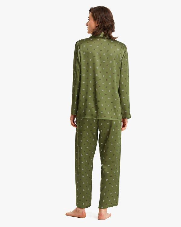 上品 小花柄 長袖 くるみボタン シルクパジャマ-hover