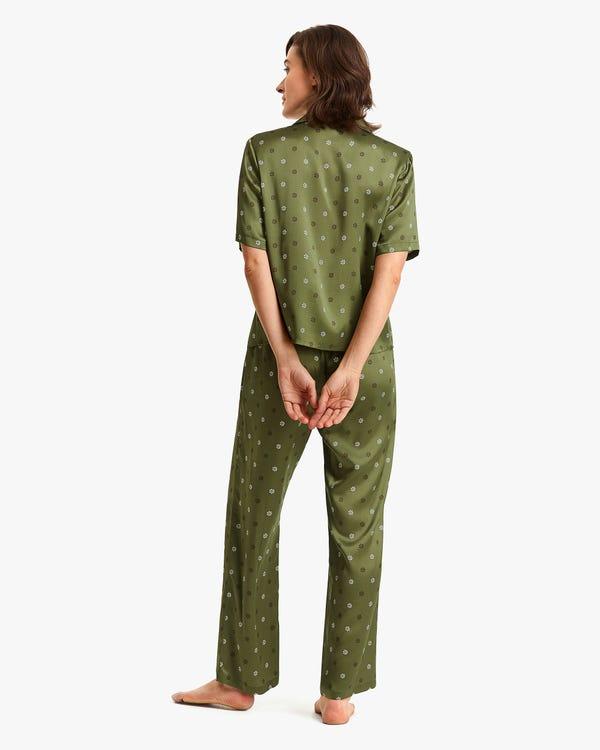 可愛い 小花柄 半袖 シルクパジャマ-hover