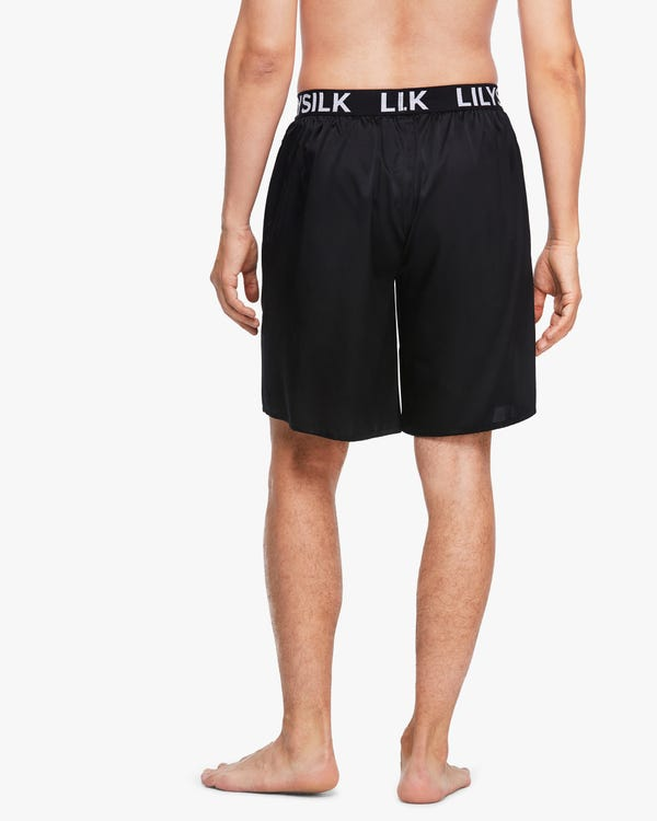 LILYSILKのロゴ付き シルクメンズショートパンツ Black 35A-hover