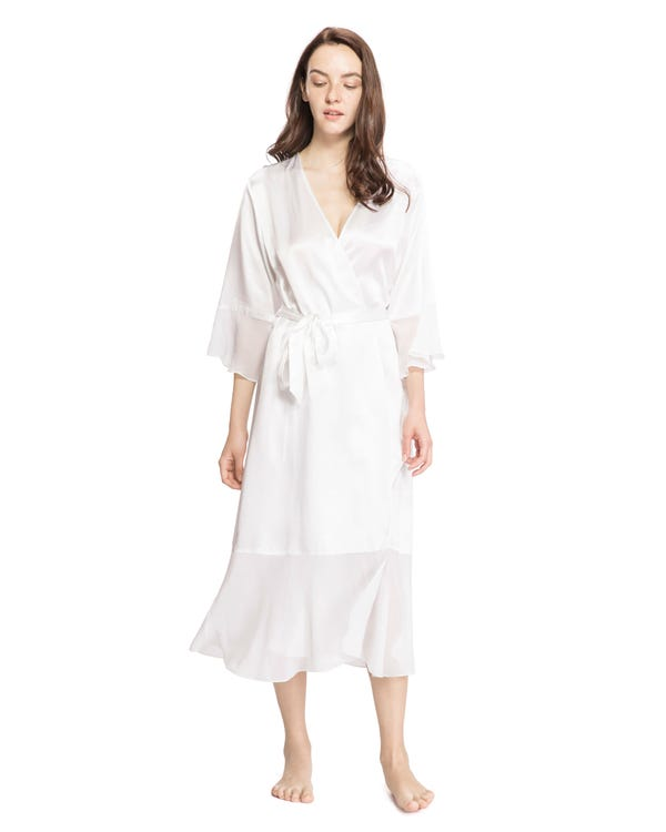 22MM Vintage V Neck Airy Silk Robe-hover