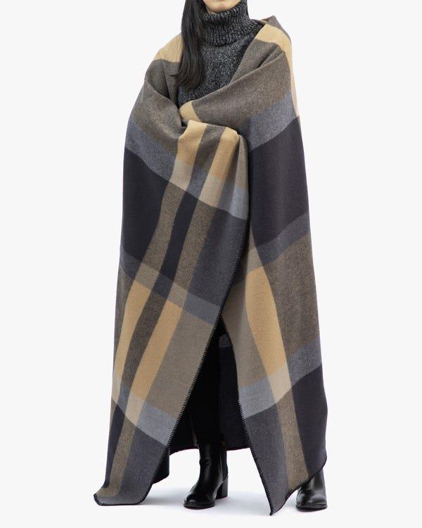 快適 チェック柄ウールブランケット暖かい毛布