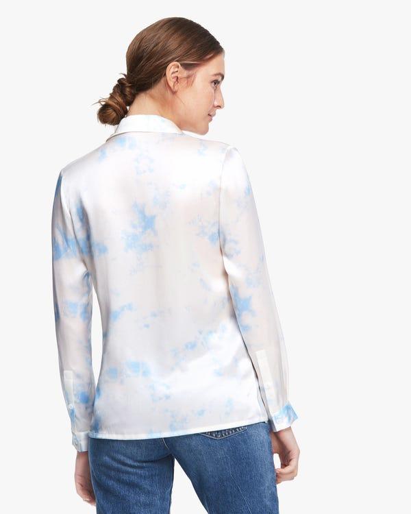 きれい 水彩柄 長袖シルクブラウス-hover