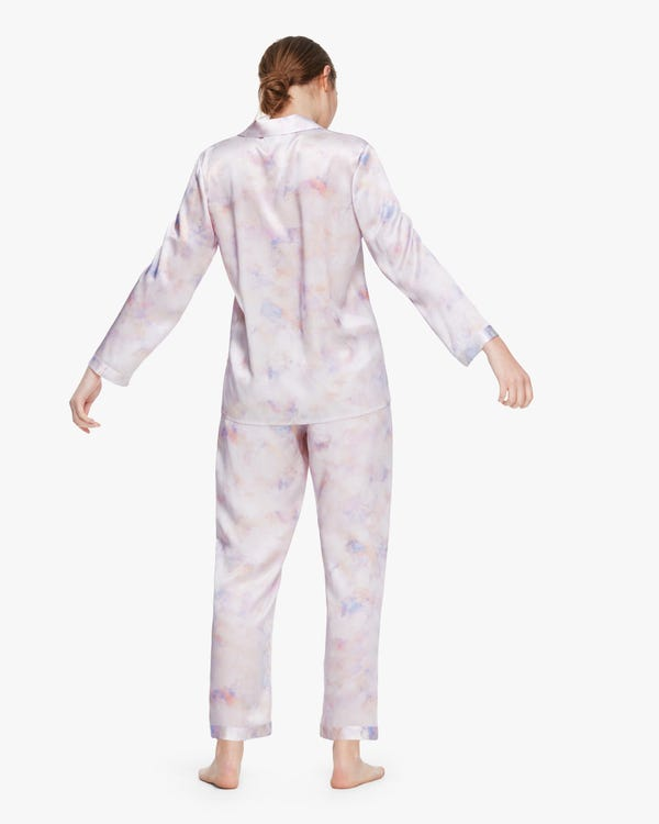 芸術的 長袖 水彩柄 ロング丈 シルクパジャマ上下セット-hover